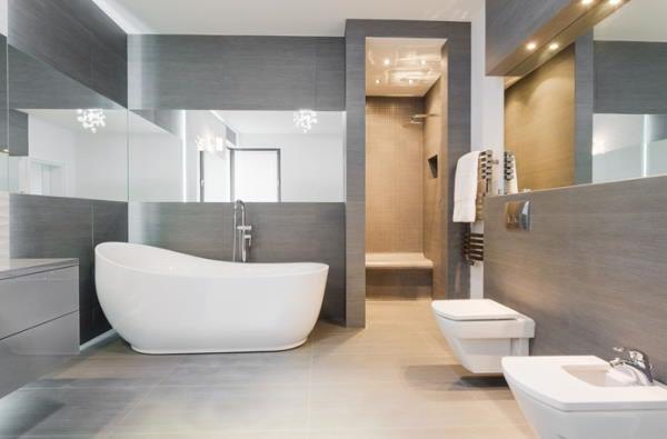 spacious well-lit bathroom
